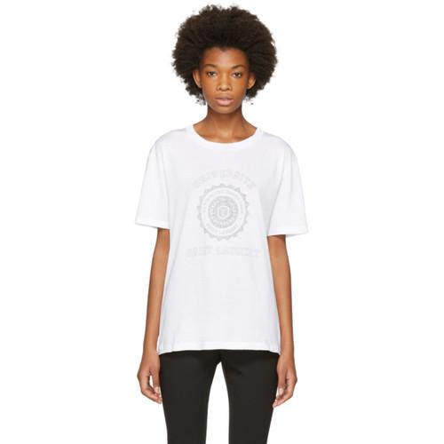 SAINT LAURENT White Oversized 'Université' T-Shirt