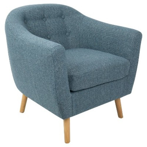 Rockwell Mid - Century Modern Chair With Noise Fabric - Blue - Lumisource