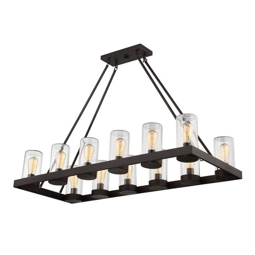 Filament Design 12-Light English Bronze Outdoor Hanging Chandelier with Brown Glass Shade