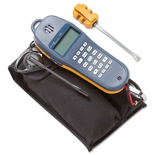 Fluke Networks 25501109 TS25D Telephone Test Set with Angled Bed-of-Nails Clips, Earpiece, 6-Wire In-line Modular Adapter, and Pouch [With ABN, Earpiece, and Pouch]