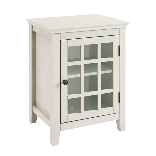 Linon Largo Antique White Single Door Cabinet