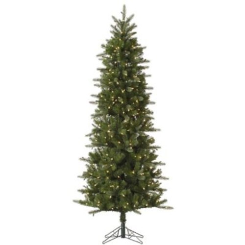 Vickerman Carolina Pencil 12' Green Spruce Artificial Christmas Tree w/ 800 Dura-Lit Clear Lights