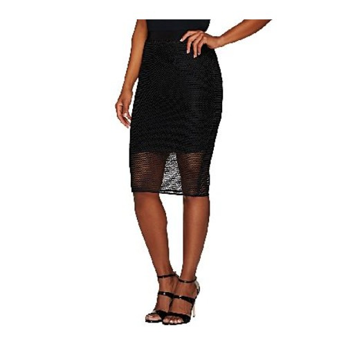 G.I.L.I. Slim Pencil Skirt with Mesh Overlay