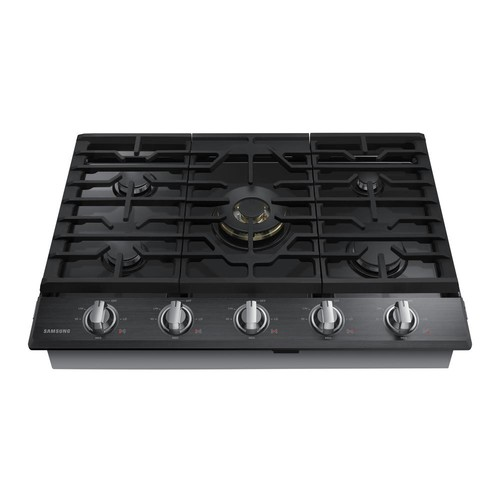 Samsung 30 in. Gas Cooktop in Black Stainless Steel5 Burners including Dual Ring Brass Power Burner