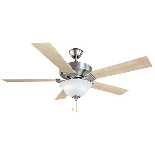 Design House 154070 Ironwood 52-Inch 2-Light 5-Blade Energy Star Ceiling Fan, Redwood or Light Maple Blades, Satin Nickel Finish