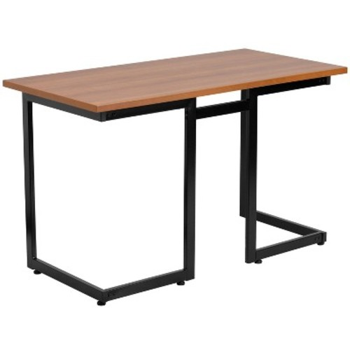 Cherry Computer Desk with Black Frame - Flash Furniture