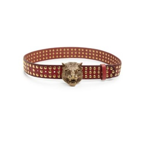 GUCCI Feline Studded Leather Belt