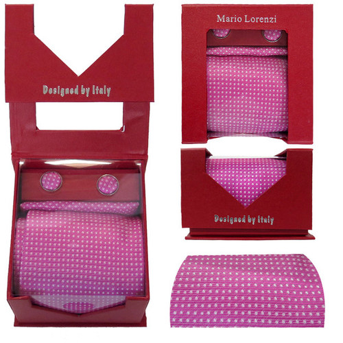 Men's Tie with Matching Handkerchief and Hand Cufflinks-White dotted on Pink Silk - White dotted on Pink Silk