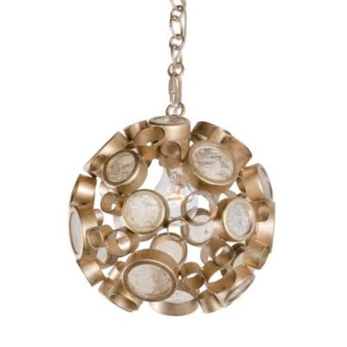 Varaluz Fascination 1-Light Zen Gold Pendant with Champagne Bottle Glass