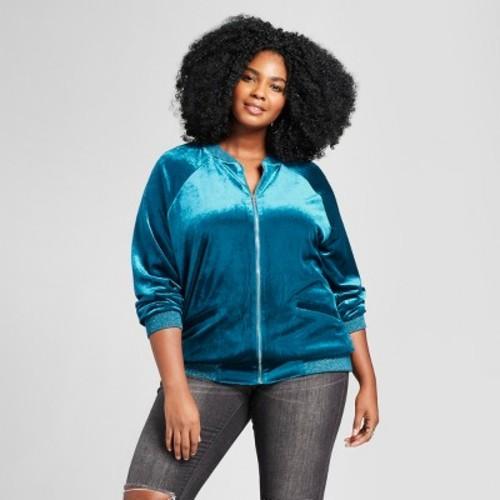 Women's Plus Size Velvet Bomber Jacket - Ava & Viv Deep Teal