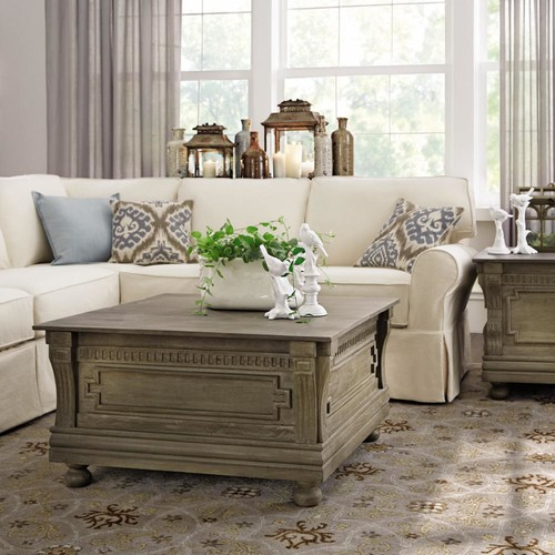 Home Decorators Collection Parker Washed Grey Built-In Storage Coffee Table