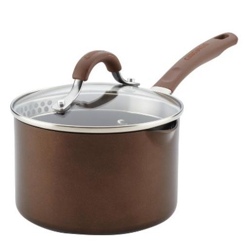 Circulon 2qt Covered Straining Saucepan Hard Anodized Cocoa