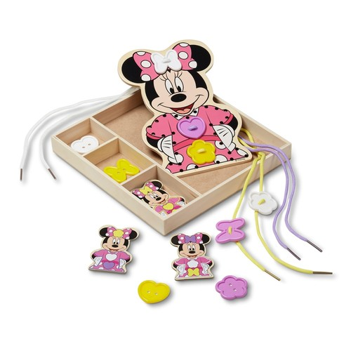 Disney Mickey Mouse & Friends Minnie Mouse Button-Match Wooden Lacing Set by Melissa & Doug