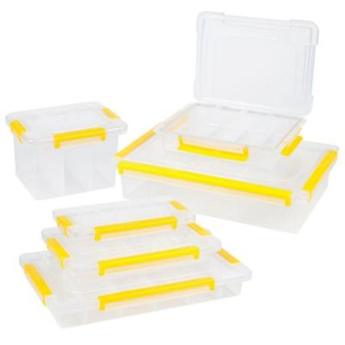 Stalwart 13.75 in. 73-Compartment Stackable Parts and Crafts Storage Organizers 6 Tool Box Set