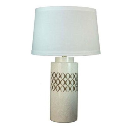 Fangio Lighting 26 in. Eggshell Crackle Ceramic Table Lamp with 3 Circle Pattern Rows in Brown Stain