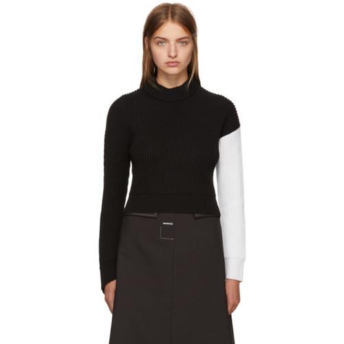 CÉDRIC CHARLIER Black & White Asymmetric Colorblock Sweater