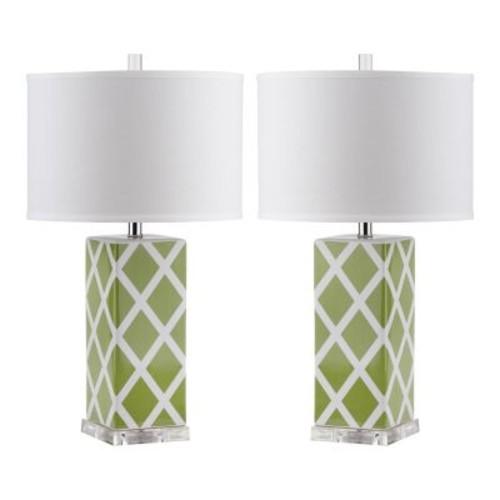 Safavieh Lighting 27-inch Green Garden Lattice Table Lamp (Set of 2)