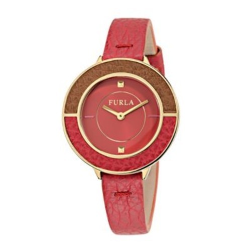 Furla Club Ladies' 34mm Watch in Goldtone Stainless Steel with Red Leather Strap