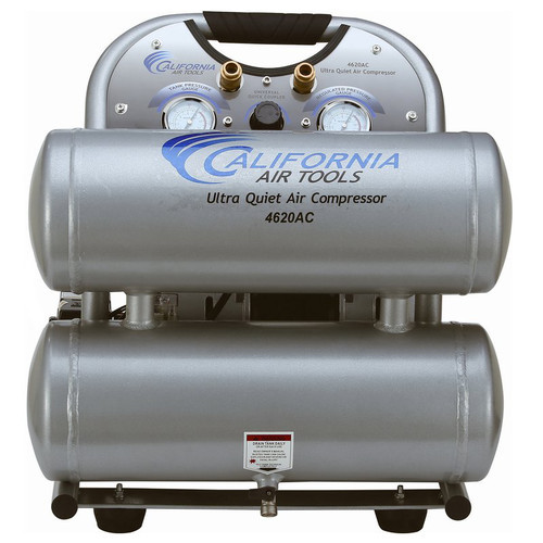 California Air Tools 4620AC Ultra Quiet and Oil-Free 2.0 Hp, 4.0 Gal. Aluminum Twin Tank Electric Portable Air Compress