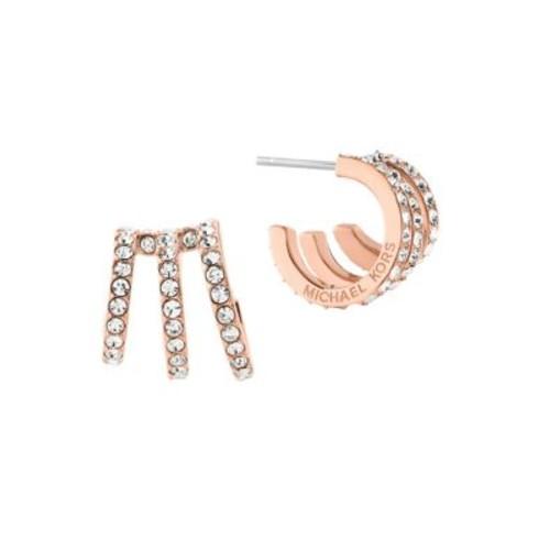 Modern Brilliance Crystal Pav Huggie Earrings/Rose Goldtone
