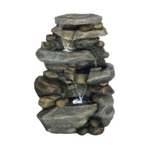 Pure Garden Cascade Rock Outdoor 3 Tier Water Fountain