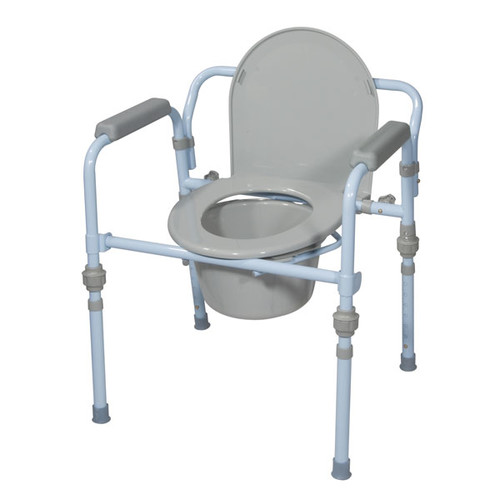 Drive Medical Folding Bedside Commode with Bucket and Splash Guard