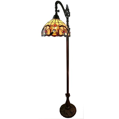 Amora Lighting 62 in. Tiffany Style Multicolored Victorian Reading Floor Lamp