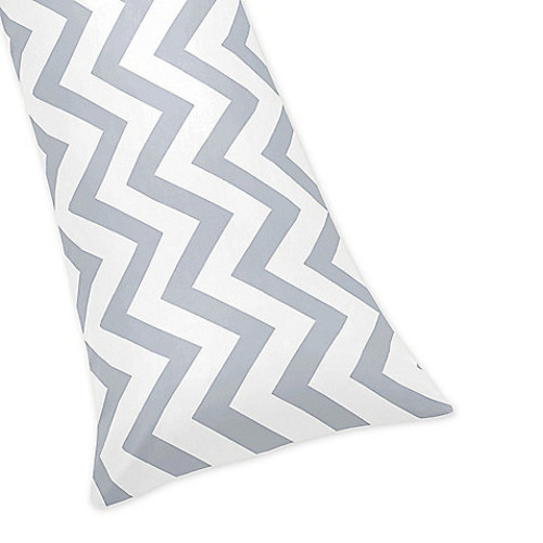 Sweet Jojo Designs Chevron Body Pillowcase in Grey and White