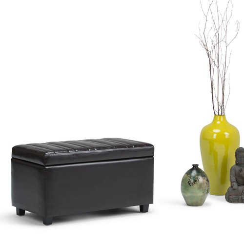 Simpli Home Darcy Tanners Brown PU Faux Leather Storage Ottoman