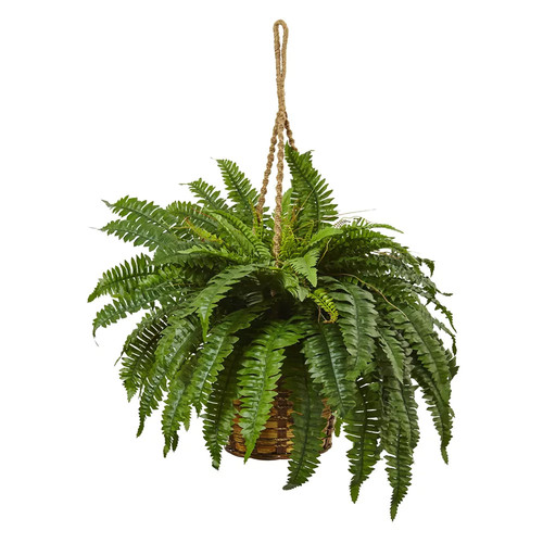 Nearly Natural 6931 Boston Fern Hanging Basket