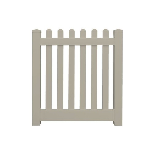 Weatherables Plymouth 4 ft. W x 5 ft. H Khaki Vinyl Picket Fence Gate Kit