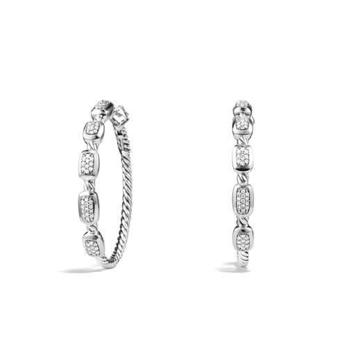 'Confetti' Hoop Earrings with Diamonds