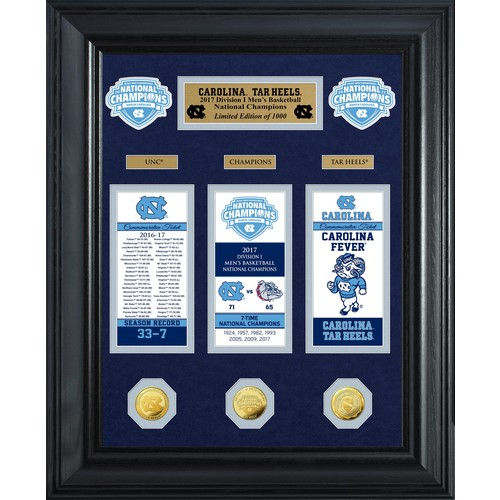 Highland Mint North Carolina Tar Heels 2017 NCAA Men's Basketball National Champions Gold Ticket Collection