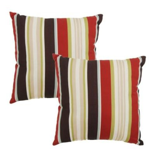 Hampton Bay Majestic Stripe Square Outdoor Throw Pillow (2-Pack)