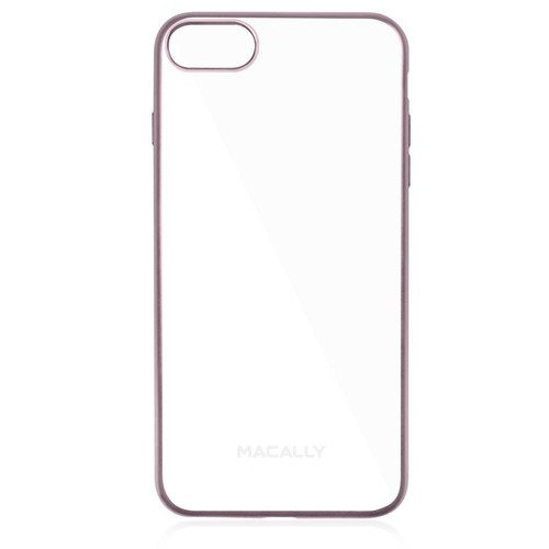 Macally Clear iPhone7 Plus TPU Protective Case with Rose Gold Matte Trim