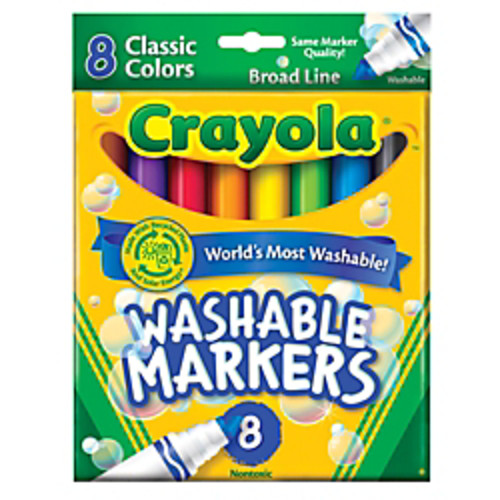 Crayola Ultra-Clean Washable Color Markers, Broad Tip, Assorted Classic Colors, Box Of 8