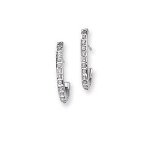14k White Gold Rough Diamond Fascination Hoop Earrings - JewelryWeb