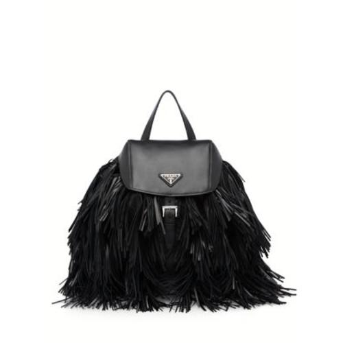 PRADA Fringed Nylon & Leather Backpack