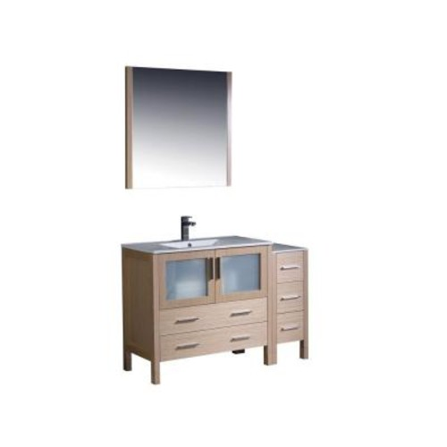 Fresca Torino 48 in. Vanity in Light Oak with Ceramic Vanity Top in White with White Basin and Mirror