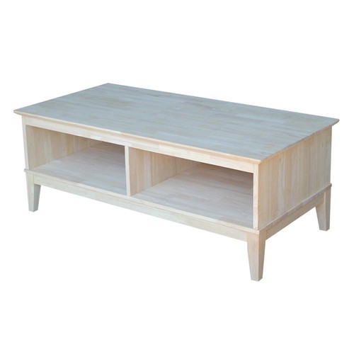 International Concepts Shaker Unfinished Divided Coffee Table