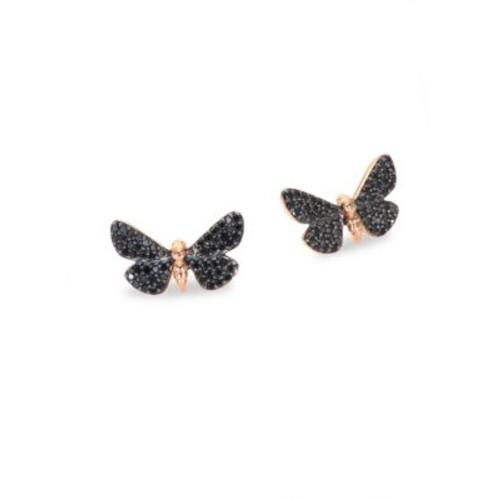 Cinnabar Moth Black Diamond Stud Earrings