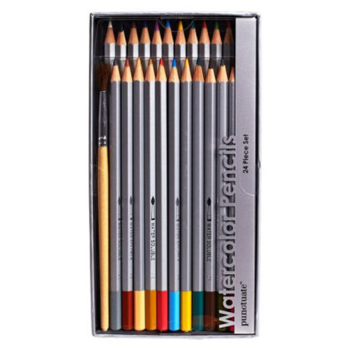 Watercolor Pencils Set of 24 with Brush (3.75''X7.25''X1.5'')