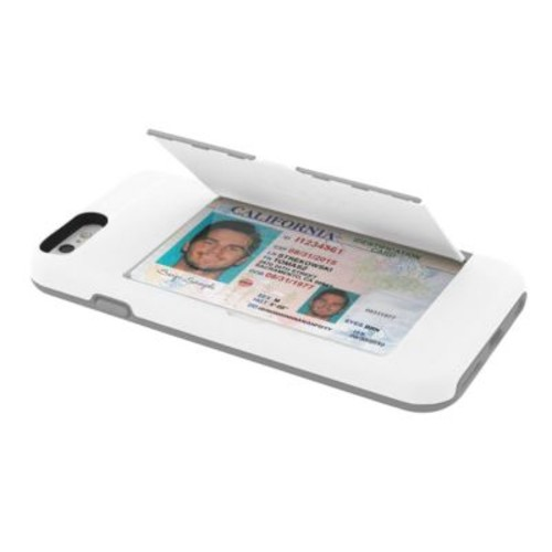 Incipio STOWAWAY Credit Card Case with Integrated Stand for iPhone 6/6s, White/Gray (IPH1185WHTGRY)