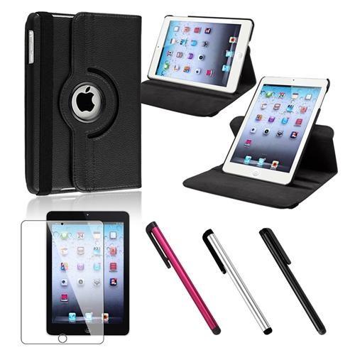 INSTEN Black Leather Case+Protector+Black/Silver/Red Stylus For iPad Mini 3 / 2 / 1 (Auto Sleep/Wake)