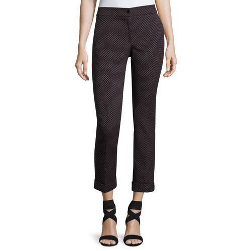 ETRO Dobby Cropped Straight-Leg Pants, Gray