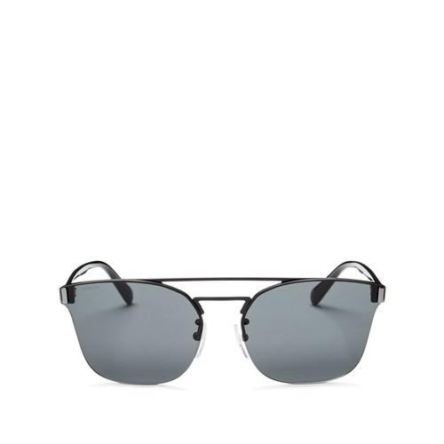 Rimless Brow Bar Square Sunglasses, 58mm