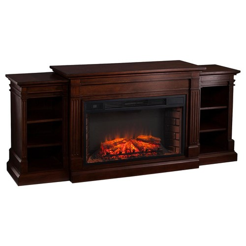 Southern Enterprises Boxborough 72 in. W Widescreen Electric Fireplace with Bookcases in Espresso