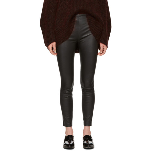 T BY ALEXANDER WANG Black Skinny Leather Pants