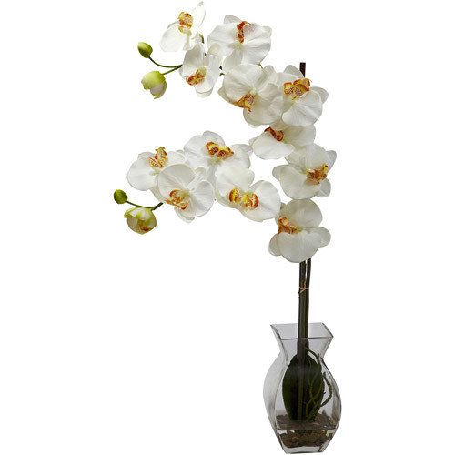 Nearly Natural Phalaenopsis Orchid with Vase Arrangement, White