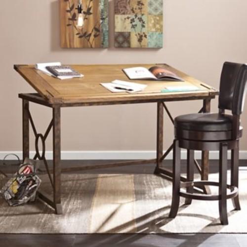 SEI 51.5''Lx32.75''D Rectangular Drafting Table, Oak